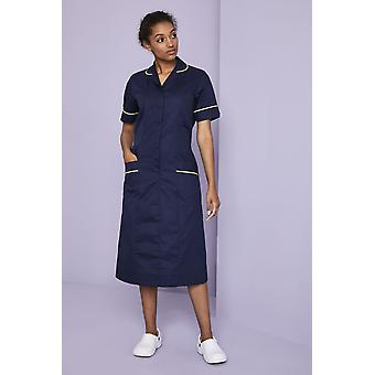 SIMON JERSEY Healthcare Dress, Navy With Lime Trim