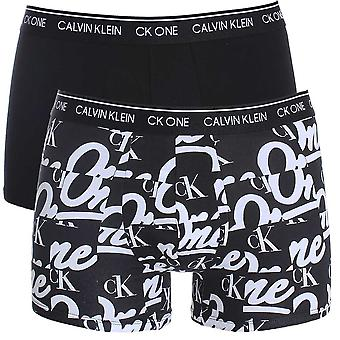 Calvin Klein CK One Cotton Stretch 2 Pack Trunk, Black/Logo Print, X-Small
