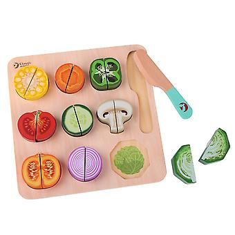 Classic World - Wooden Cutting Fruit Puzzle Toy Kitchen Colourful Pretend Playset