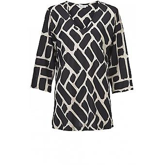 Masai Clothing Kaisa Black & Cream Bold Print Top