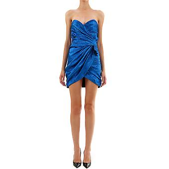 Saint Laurent 586753y298v4701 Women's Blue Silk Dress