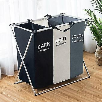 Dirty Clothes Storage Basket Three Grid Organizer Basket Collapsible Large Laundry Hamper Waterproof Home Laundry Basket|laundry Baskets