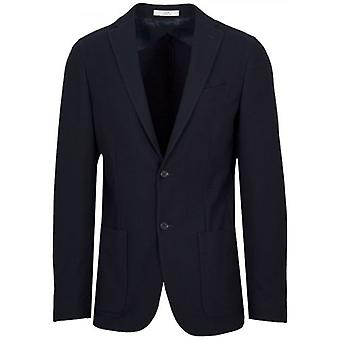 CC Collection Corneliani 2-Button Navy Blue Herringbone Blazer