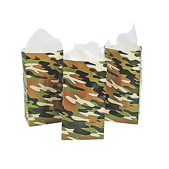 12 Camouflage Print Paper Party Loot Bags