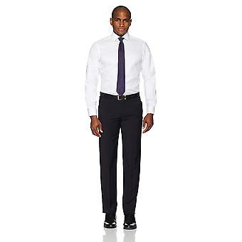 BUTTONED DOWN Men's Classic Fit Spread Collar Solid Non-Iron, White, Size 18.5
