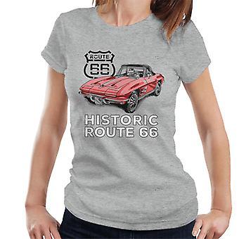 Route 66 Historic Sports Car Women's T-Shirt