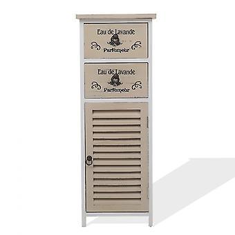 Rebecca Meubles Cabinet Mobile 2 Tiroirs 1 Anta White Wood Shabby 86x32x27