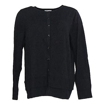 Joan River-apos;s Women-apos;s Sweater Card Button Front W/Hem Detail Noir A366313