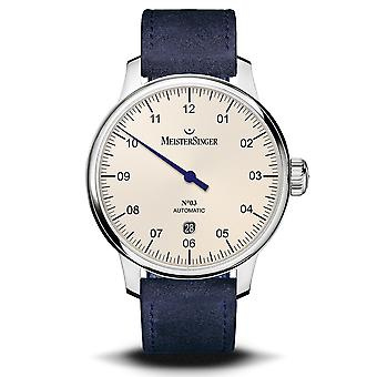 MeisterSinger No. 03 Ivory Dial Blue Suede Strap Men's Watch DM903-SV04