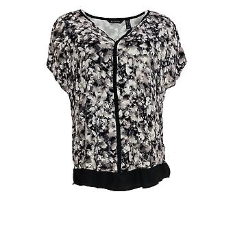 H by Halston Women's Top Abstract Floral Split-Neck Knit Black A353397
