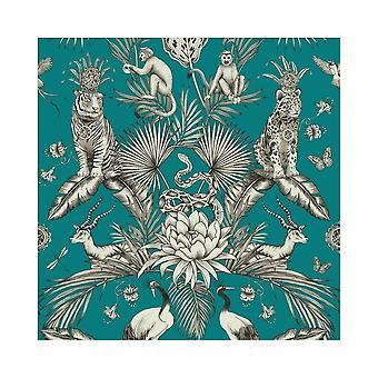 Belgravia Menagerie Tropical Plants Exotic Animal Print Tiger Birds Snake Monkey Teal Wallpaper