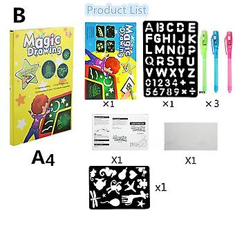 1pc A4 Led Luminoso Drawing Board Graffiti Doodle Tablet Magic Drawing With Light-fun Fluorescent Pen Educational Toy