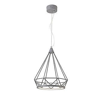 Éclairage Luminosa - Grand pendentif de plafond en cage de diamant, 1 x 10W LED, 3700K, Matt Grey