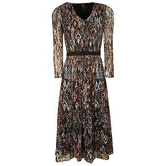 Leo & Ugo Blue & Salmon Ethnic Print No Iron Long Sleeve Elasticated Dress
