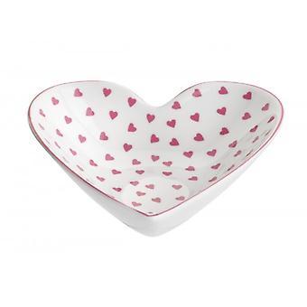 Nina Campbell keskikokoinen sydämen muotoinen ruokalaji, vaaleanpunainen sydän design