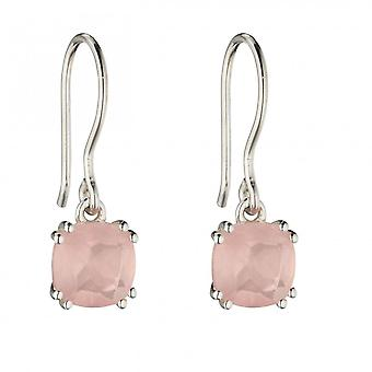 Elements Silver Sterling Silver Rose Quartz Cushion Earrings E5850P