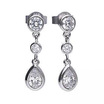 Diamonfire Silver White Zirconia Teardrop Shape Earrings E5579