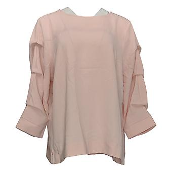 Martha Stewart Women's Top Knit Crepe Gathered 3/4 Sleeve Top Pink A350990