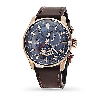 Foxter Avalone Men's Watch Brown Leather Bracelet, PVD Pink Steel Case and Blue Background - FR6043C4BC2
