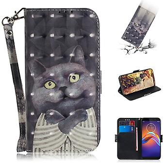 For Motorola Moto E6 Play 3D Formula Pattern Magnetic Attraction Horizontal Flip Leather Case with Lanyard, Support Holder & Card Slot & Wallet(Embrac