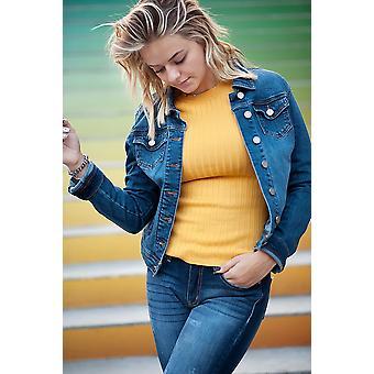ז'קט ג'ינס בכושר רזה בכחול כביסה כהה