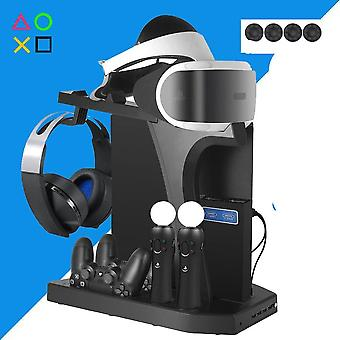 Dual Charging Station For Ps4 Pro Slim, Vertical Stand - Cooling Fan, Headset