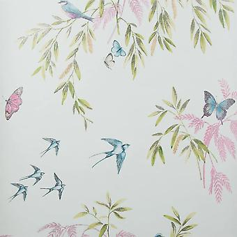 TEAL WOODLAND THEMED WALLPAPER GLITTERY 665702