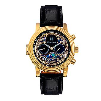 Heritor Automatic Legacy Leather-Band Watch w/Day/Date - Gold/Black