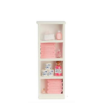 Dolls House Narrow Shelf Unit Pink Towels & Accessories 1:12 Bathroom Furniture