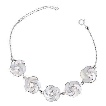 ADEN Bracelet en fleur de nacre blanche effet spirale sur chaîne argent 925 (id 2979)