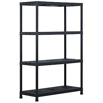 رف التخزين الأسود 220 كجم 90 × 40 × 138 سم بلاستيك
