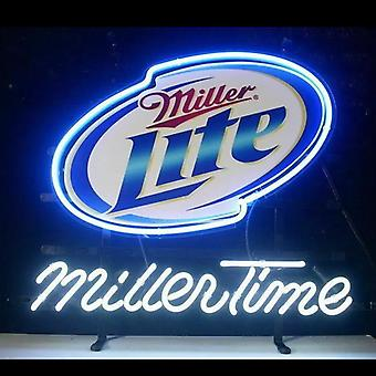 Miller Time Glass Neon Light Sign Beer Bar