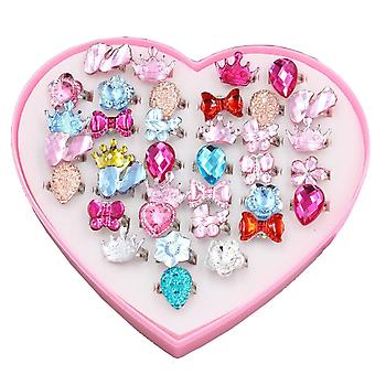 Diy dům 24 ks holčičky křišťálově nastavitelné kroužky princezna zdobit hrát šperky kroužky hračky pro