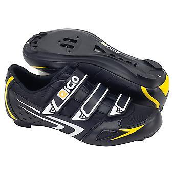 Eigo Theta Road Shoe Nylon Sole Triple Velcro Strap - Black