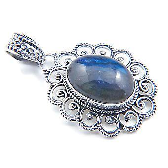 Amuleto de caneta de corrente prata 925 Pedra labradorita de prata esterlina (Não: MAH 83-05)