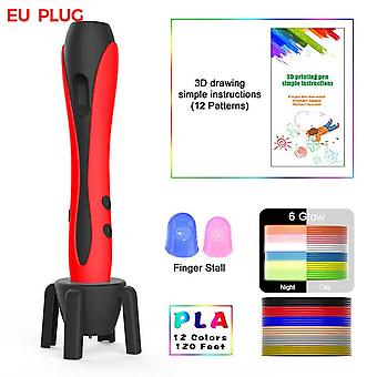 3D pen with 12 colors pla filament printing pen support abs and pla kids diy drawing pen with lcd display