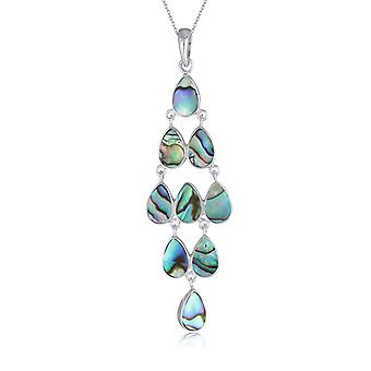 ADEN 925 Sterling Silver Abalone Mother-of-pearl Necklace (id 4297)