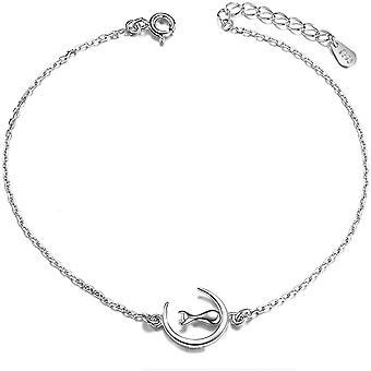 Wokex Fukettchen fr Frauen, 925 Sterling Silber, Kette mit Ornament Katze auf dem Mond, Platin, 200