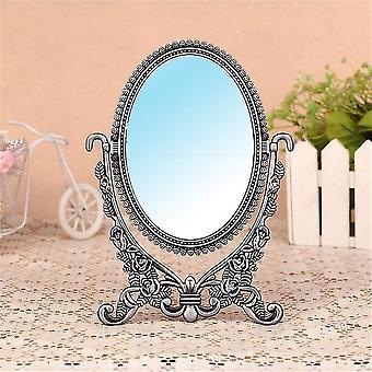 الأوروبية الغرور مرآة مزدوجة الجانب خمر معدنية صغيرة بيضاوية سطح المكتب ماكياج مرآة الأميرة مرآة المنزل ديكور مرآة مستحضرات التجميل