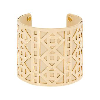 Cuff armband 'apos;PHUKET'apos; guld finish faux beige läder