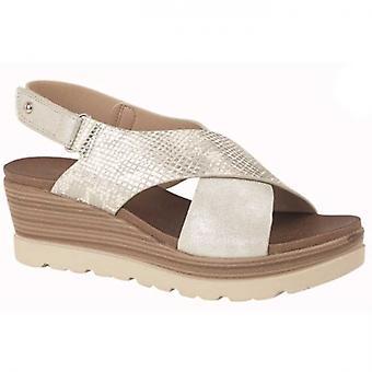 Cipriata Fiore Ladies Slingback Wedge Sandals Silver