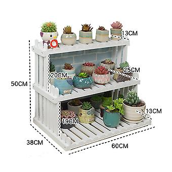Solid Wood Desktop Flower Stand Office Window Sill Mini Storage Rack Potted Plant