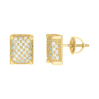 925 Sterling Silver Yellow tone Mens Cubic zirconia Rectangle Cluster Stud Earrings Jewelry Gifts for Men