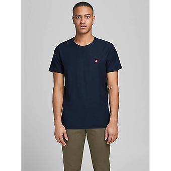 Jack & Jones Struc Borst Logo T-Shirt - Navy Blazer