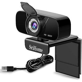 كاميرا ويب كاملة عالية الدقة 1080P PC مع ميكروفون ستيريو، كاميرا ويب الكمبيوتر المحمولة، كاميرا ويب USB 2.0، تدفق كاميرا الحد من الضوضاء لمكالمات الفيديو، وتسجيل، والمؤتمرات مع مقطع الدورية (أسود)
