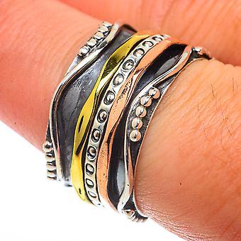 Meditation Spinner Ring Size 7.75 (925 Sterling Silver)  - Handmade Boho Vintage Jewelry RING66608