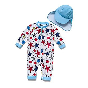 Baby Kids One PieceSwimsuits UPF 50+ Sun Protection 3/4 Sleeves Full-zip Sunsuit