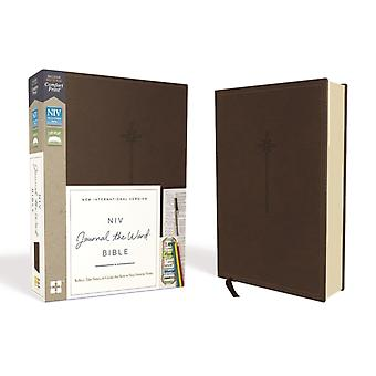 NIV Journal the Word Bible Leathersoft Brown Red Letter Comfort Print  Reflect Take Notes or Create Art Next to Your Favorite Verses by Zondervan
