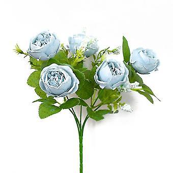Artificial Rose Bouquet Rose Camellia Artificial Flower Artificial Flower Decorative Flower(Blue)