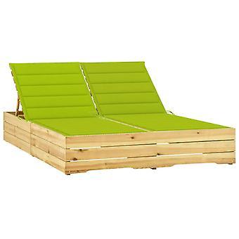 vidaXL Doppio lettino con cuscinetti verde chiaro Pino impregnato